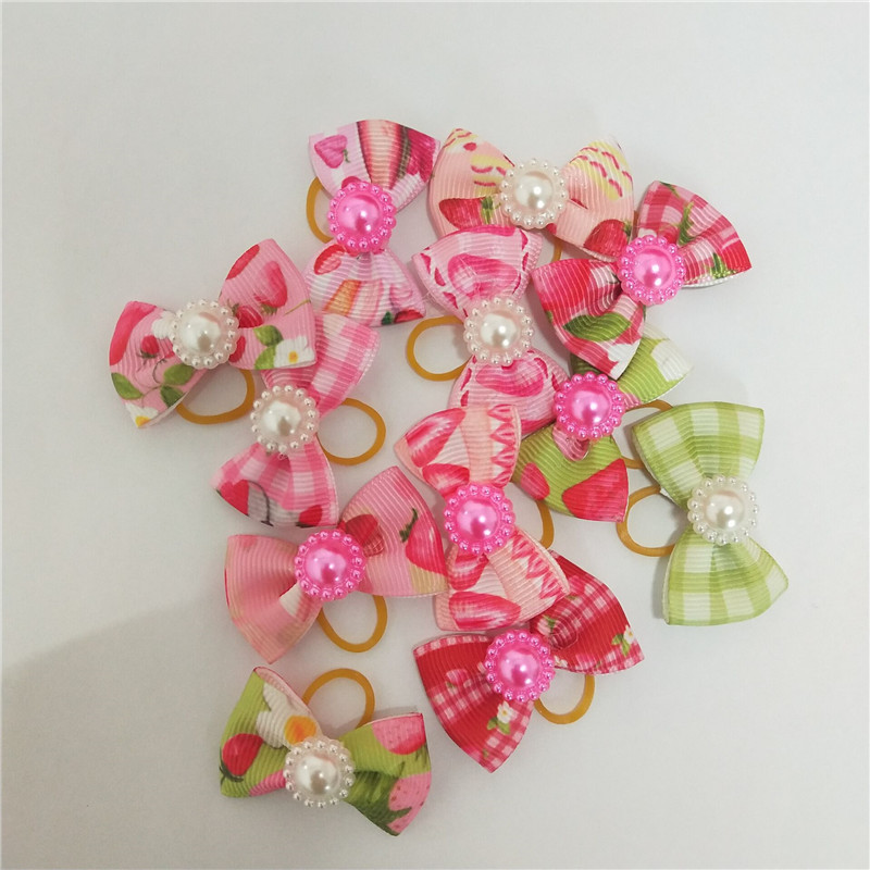 50pcs Dog Hair Accessories Pearl Dog Bows with Rubber  Pet Dog Hair Bows Pet Grooming Products for Small Dogs Pets Accessories