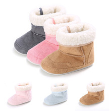 Baby Shoes Boots Rubber Plush Toddler Infant Girl Winter Soft New Sole Boy Warm Suede