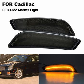 2PCS Smoked Lens Amber Car Front LED Side Marker Light High Fender Lamp For Cadillac CTS、CTS V 2003 2004 2005 2006 2007 image