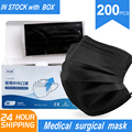 Medical Surgical Masks Disposable Face Mouth Mask Non-woven Filter Anti Medical Disposable Mask 3-Layers Protective Adult BLACK