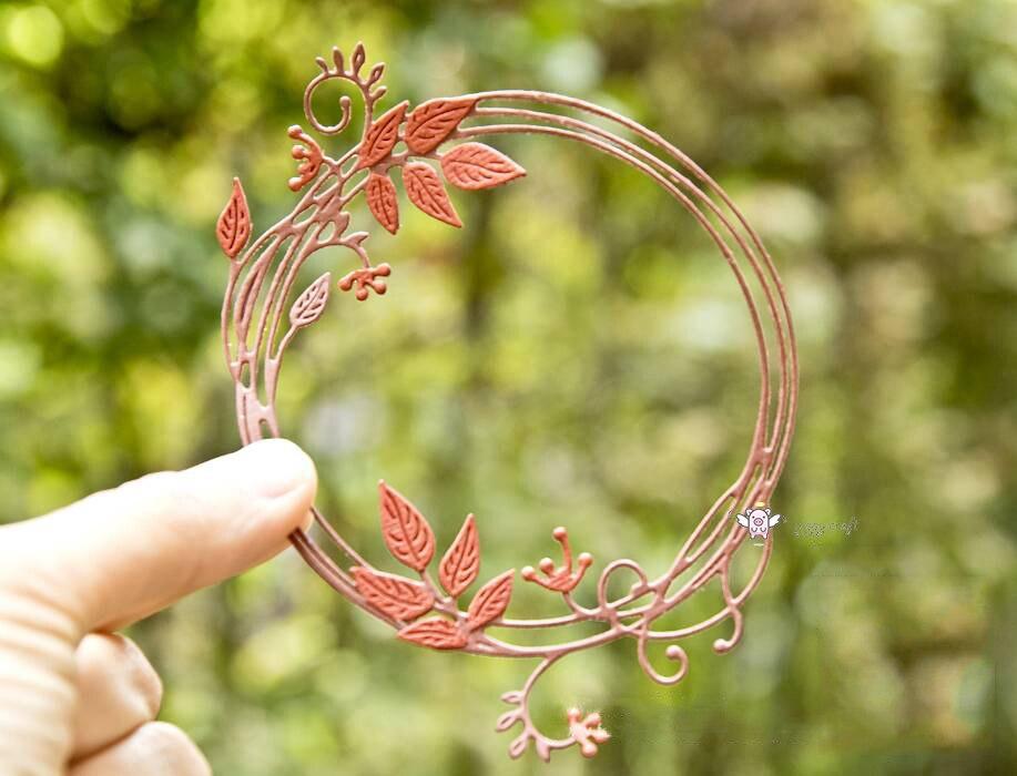 Mmao artesanato metal corte de aço dados nova carta outono folha anel estêncil para diy scrapbooking papel/cartões foto gravando dados
