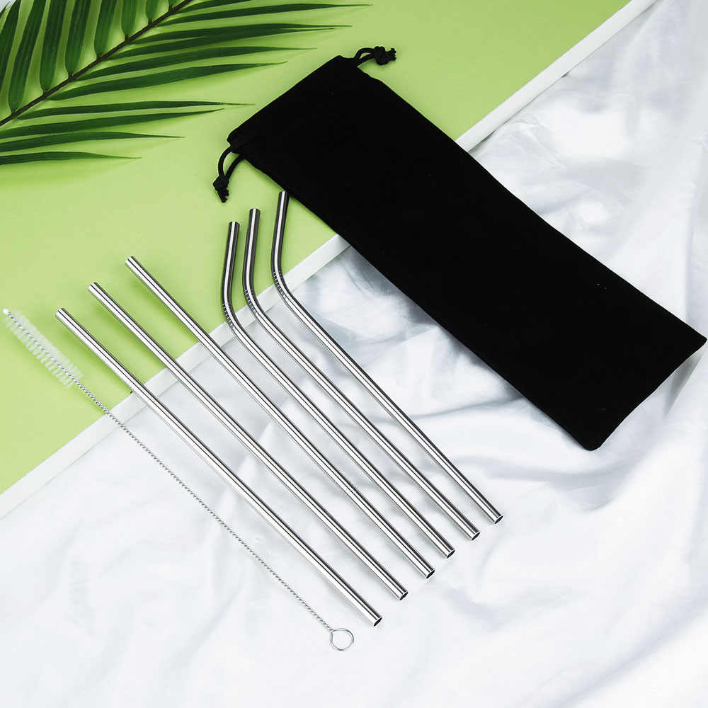 Reusable Metal Drinking Straws 304 Stainless Steel Sturdy Bent Straight Drinks Straw Cleaner Brush Drinking Straw Bag Bar Acces