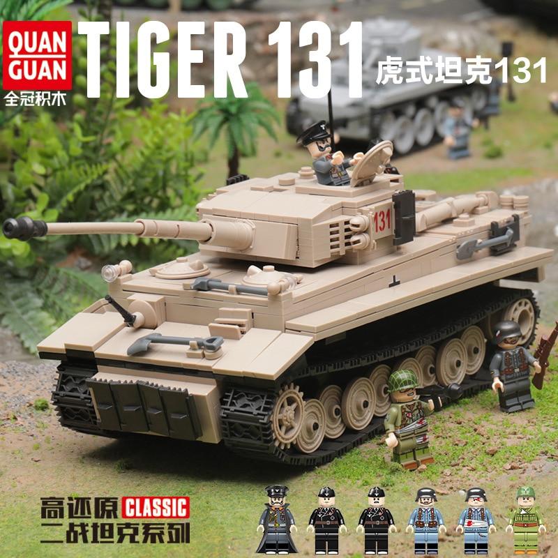 1018Pcs QuanGuan Blocks 100061 Military Tank Series Tiger 131 Tank Toys For Children Birthday Gifts