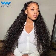 30-40 дюймов Синтетические волосы на кружеве парики из натуральных волос для Для женщин предварительно вырезанные глубоко вьющиеся синтетич...