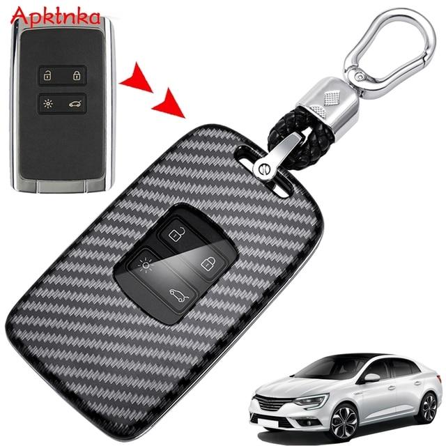 Apktnka 4 Button Carbon Fiber Car Remote Control Key Shell Cover Case Fob For Renault Kadjar Megane Clio 2016 2017 2020 2021