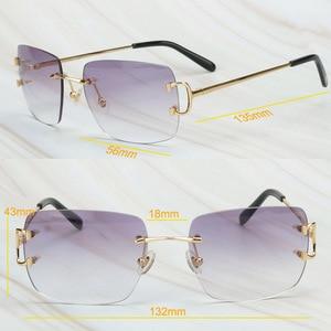 Image 5 - Gafas De Sol sin montura para hombre y mujer, lentes De Sol De lujo, Marco Carter para conducir, cuadradas, accesorios De diseñador