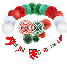 Diy Christmas Dinosaur Garland Red Green White Tissue Paper Flower Fan Paper Lantern Outdoor Indoor Xmas Party Hanging Decor outdoor travel dissolving paper soaps white 20 pcs