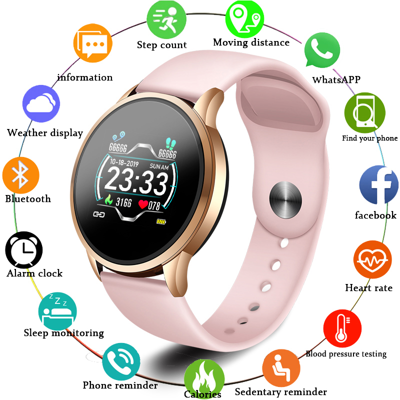 LIGE Fitness Tracker IP67 Waterproof Smart Bracelet Screen heart rate Monitor Pedometer Smart Wristband Sport smart watch Women image