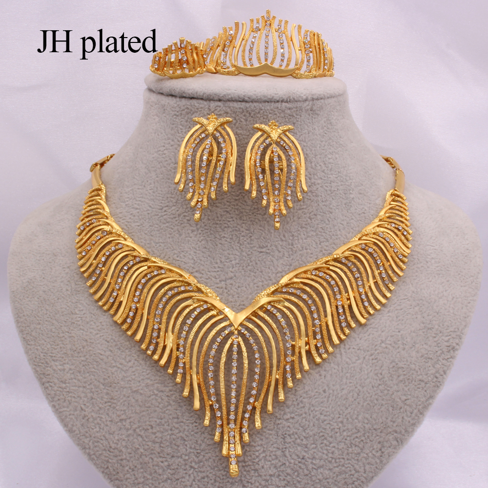 Women Jewelry sets African Ethiopia Dubai Fashion gold bridal Wedding gifts <font><b>Necklace</b></font> <font><b>Earring</b></font> <font><b>Ring</b></font> <font><b>bracelet</b></font> set India jewellery image