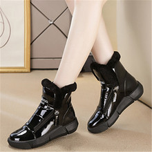 Winter Warm Ankle Boots Woman Sneakers High Top Zipper 2020 Velvet Fur Lady Casual Shoes Black White Sneakers Platform Eu 35-40 winter fur sneakers platform woman 2018 autumn high top female casual shoes wedge side zipper fashion warm snow sneakers v671
