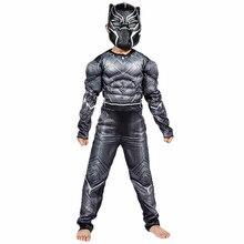 От 4 до 12 лет, черные костюмы Пантеры, Детский костюм на Хеллоуин, Капитан Америка, гражданская война, Marvel, Черная пантера, косплей, костюм супергероя