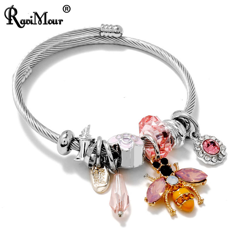 Fashion Crystal Bee Charm Bangle Bracelet Women Accessories Enamel Flower Bead Stainless Steel Jewelry Cuff Bracelets(China)