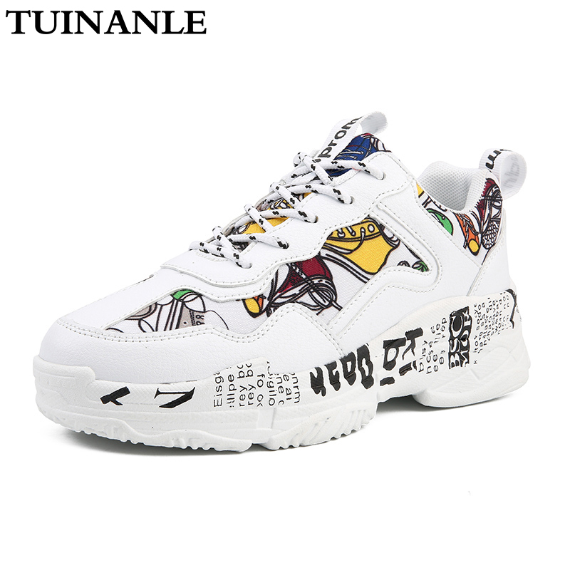 TUINANLE Sneakers Women Summer Woman Casual Fashion Shoes Graffiti Flats Ladies Vulcanized Shoes White Sneakers Zapatos Mujer 1