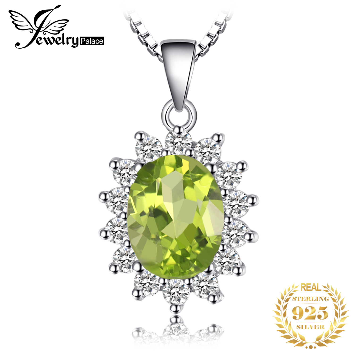 Natural Peridot Pendant Necklace 925 Sterling Silver Gemstones Choker Statement Necklace Women Silver 925 Jewelry Without Chain