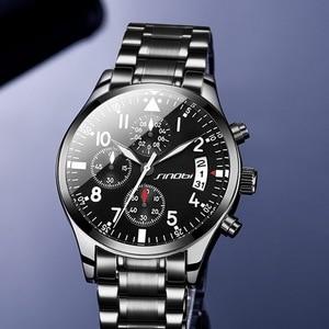 Image 2 - SINOBI Chronograph Männer Armbanduhr Wasserdicht Top Luxus Marke Edelstahl Männer Quarzuhr Relogio Masculino Dropshipping