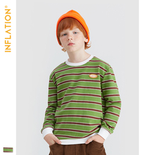 INFLATION 2019 Autumn Kids Stripe T-shirt Boys Girls Cotton Long Sleeve Tops Shirt Streetwear Loose Fit T shirt For 5T-10T19557A loose stripe raglan sleeve t shirt