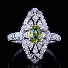 HELON 1.1ct Genuine Natural Peridot & Diamond Women Engagement Ring 925 Sterling Silver Vintage Ring 7x5mm Oval Natural Peridot