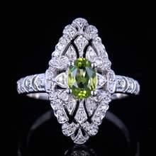 HELON 1.1ct prawdziwy naturalny Peridot i diament kobiety pierścionek zaręczynowy 925 srebro Vintage pierścień 7x5mm owalny naturalny Peridot