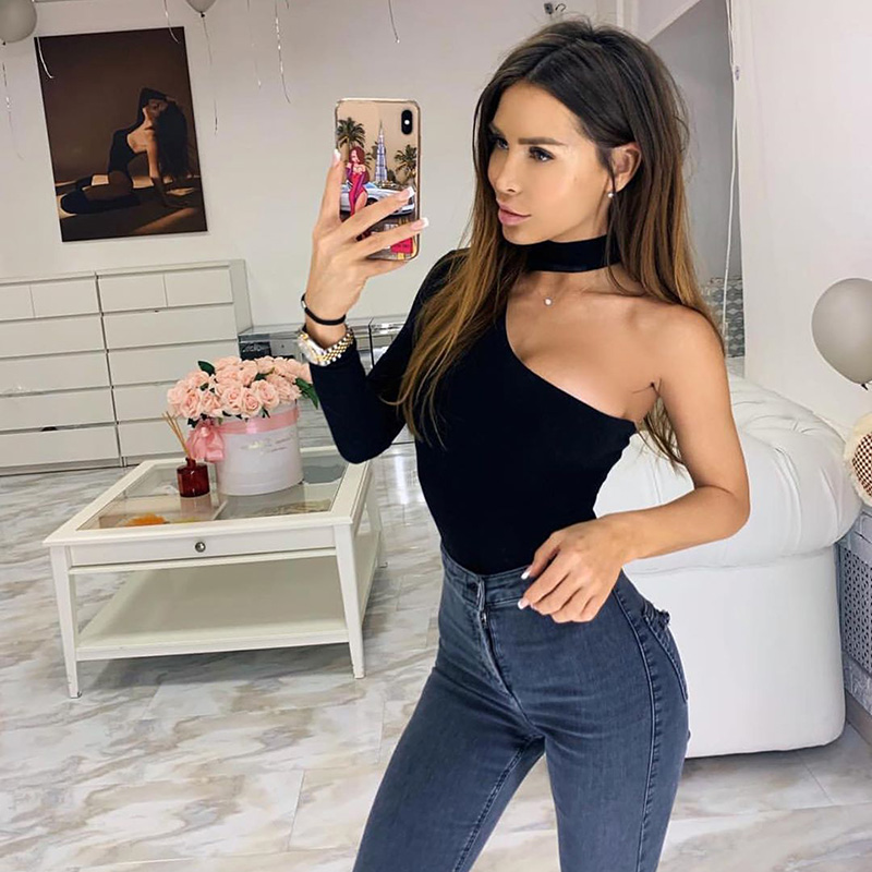 2019 Winter Spring Solid Bodycon Casual Long Sleeve Body Cotton Halter One Shoulder Sexy Bodysuit Women New Fashion