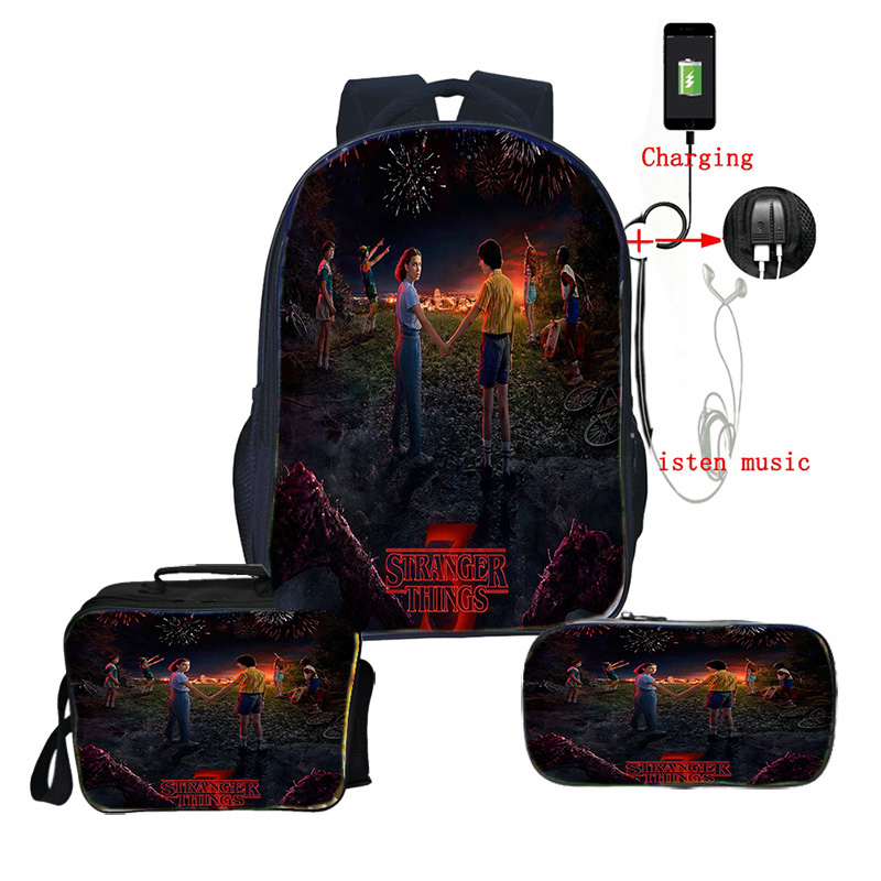 Stranger Things 3 3pcs/set Backpack+lunchBag+pencil Case Backpack Back To School Backpack Gift Children Boys Girls USB Charge