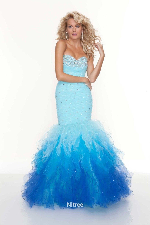 Rainbow Long Prom Dresses 2019 Vestidos De Gala Mermaid Beaded Crystal Off The Shoulder Sweetheart Floor Length Bubble-Hem Train