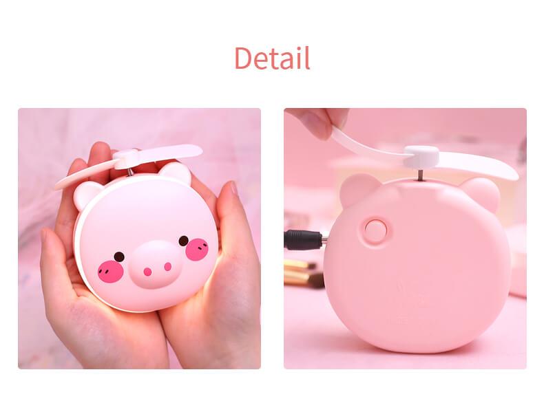 Heaven2017 Cartoon Pig USB Mini Cooling Fan with LED Night Light for Kids