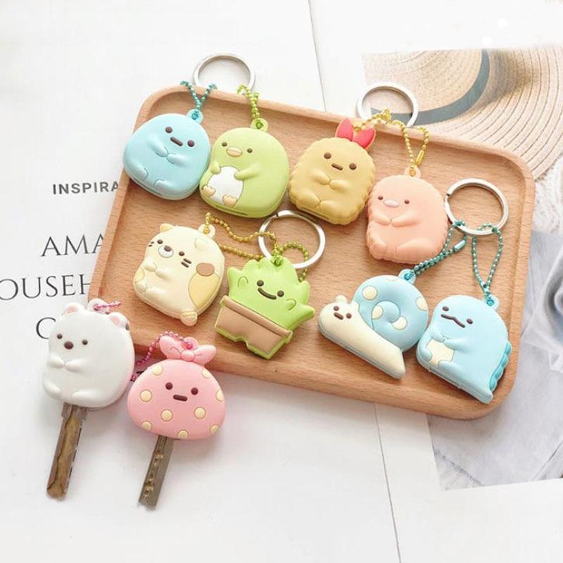 1set new Keychain Chaveiros anime Sumikko Gurashi Key Met Keys Cover Cartoon Bag Chain pvc pendant Figure toys gift