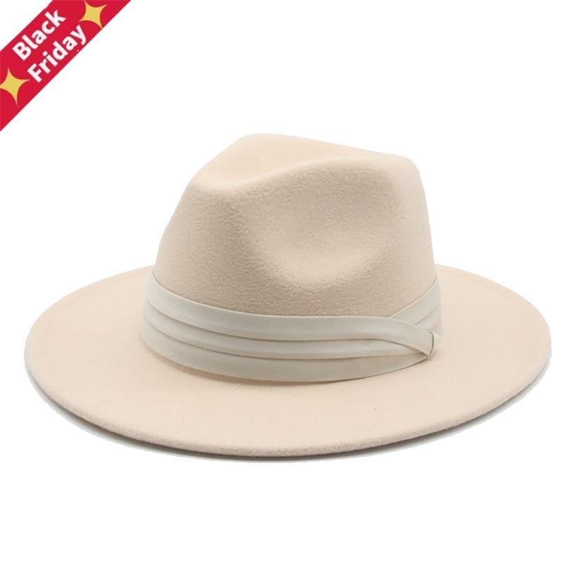 Women Hats Classic Panama Men Wide Brim Felted Hat Church Wedding Belted Band Jazz Caps Black Green Fedora Women Winter Hats New
