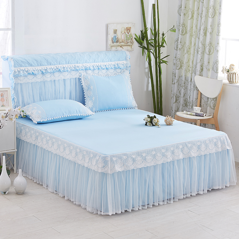 Princess Style Lace Bedding Set 1pc Bedspread And 2pcs Pillowcases With Lace Edge Blue/pink/purple/grey/green Color Available