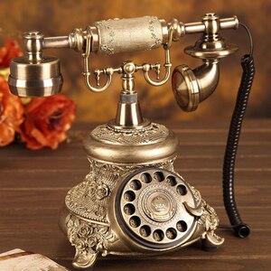 Image 2 - עתיק זהב פתול טלפון רטרו בציר רוטרי חיוג שולחן טלפון טלפון עם חיוג חוזר, ללא ידיים, בית משרד קישוט