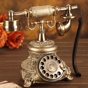 Image 2 - Antique Golden Corded Telephone Retro Vintage Rotary Dial Desk Telephone Phone with Redial, Hands free, Home Office Decoration
