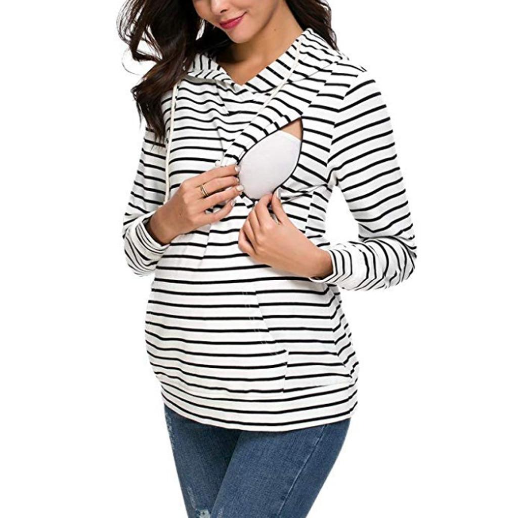Euro Stripes Hoodies Sweatshirts Women Maternity Nursing Pullover Breastfeeding For Pregnant Women Mother Breast Feeding Tops