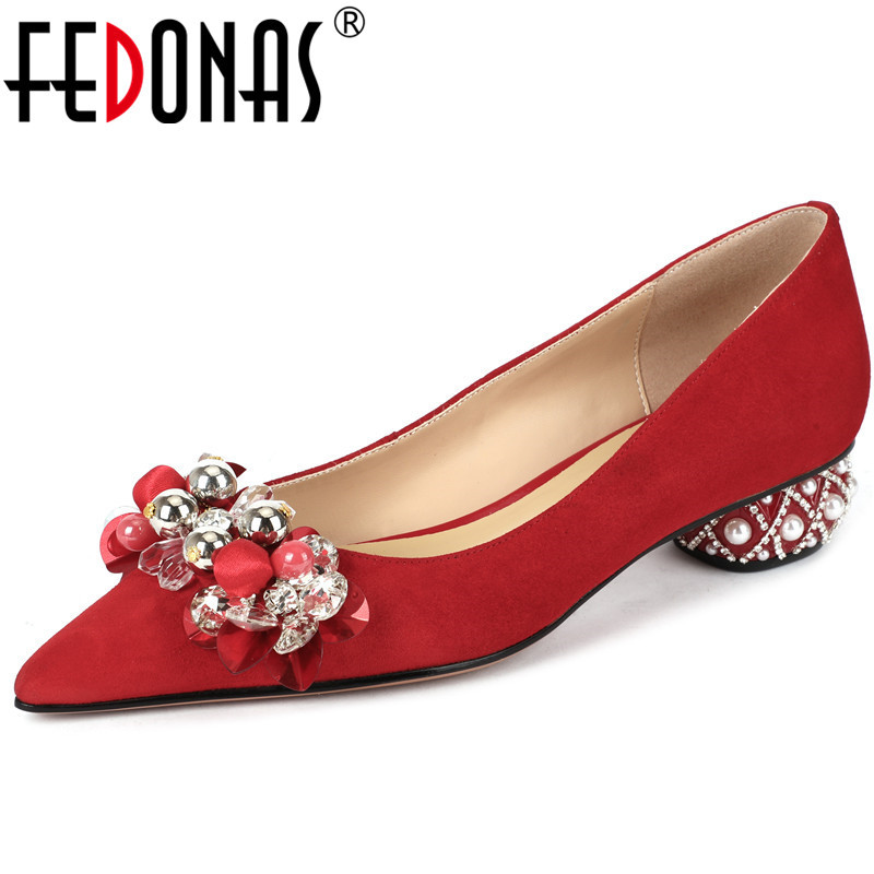 FEDONAS Brand Women Square Heeled Wedding Pumps Genuine Leather Pearl And Metal Decoration Shoes Glitters Sweet Shoes Woman