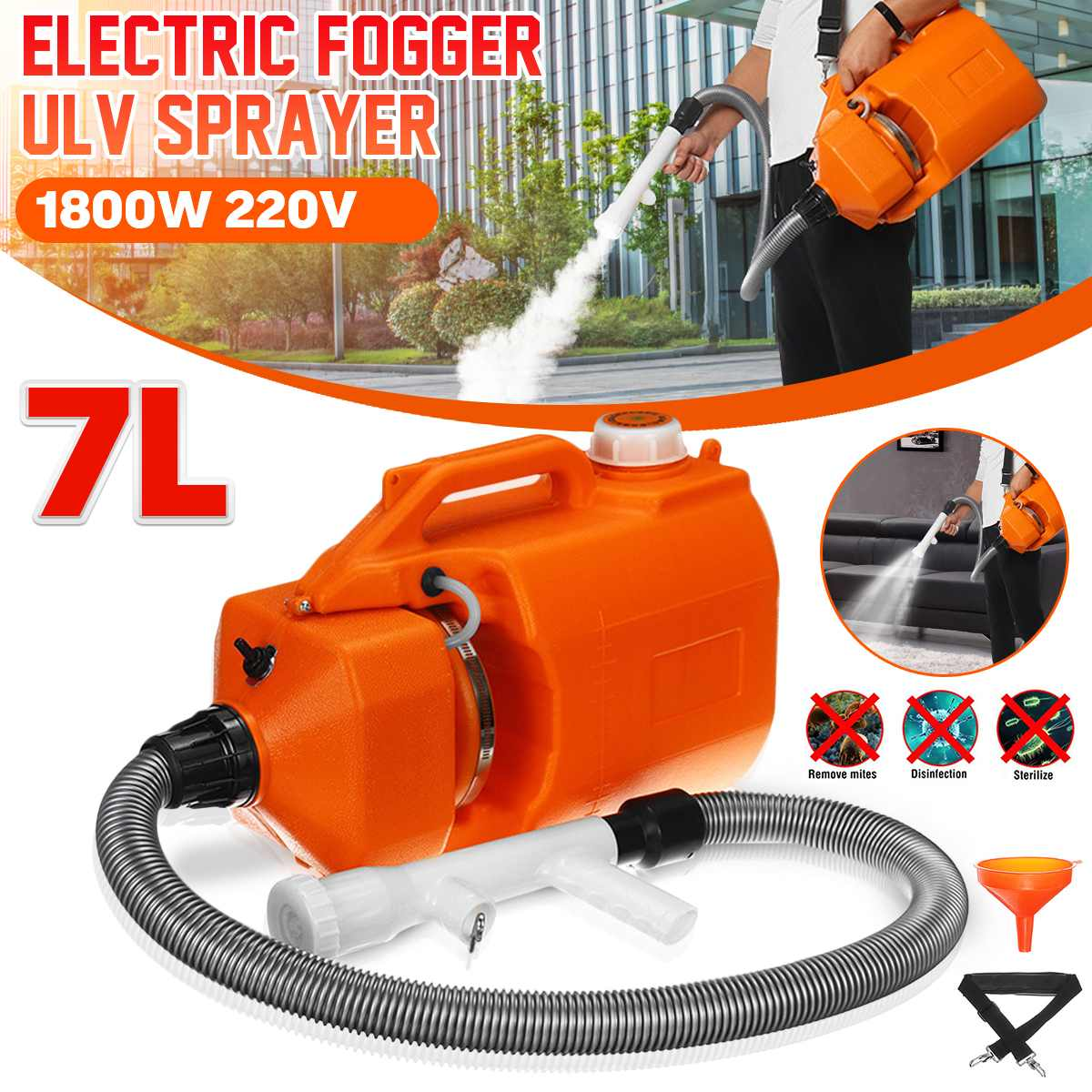 7L 220V Portable Electric ULV Sprayer Fogger Machine Mosquito Fogging Machine Ultra Low Capacity Disinfection Camping Equipment