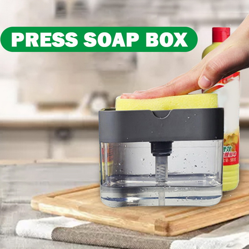 2-in-1 Soap Pump Dispenser With Sponge Holder Liquid Dispenser Container Hand Press Soap Organizer Kitchen Cleaner Tools new 1