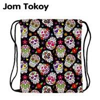 JomTokoy Neue Mode Schädel Druck Kordel Tasche Sport Wasserdichte Rucksack Bundle Tasche Männer Frauen