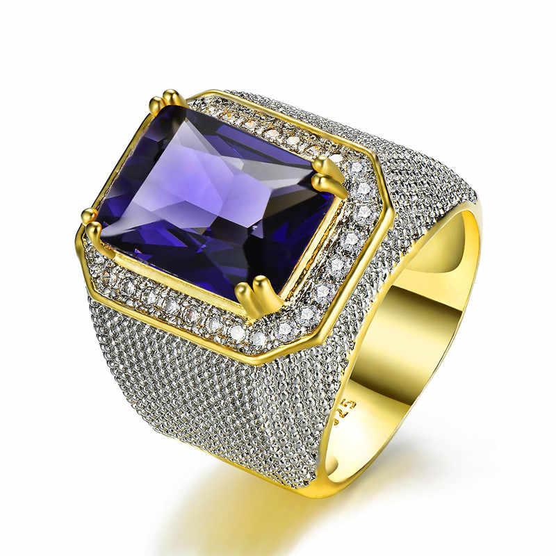 Gorgeous Big ชายหญิงสีม่วงหินแหวนคริสตัลแหวนหมั้นแหวนทองคำขาวขนาดใหญ่สำหรับบุรุษและสตรี