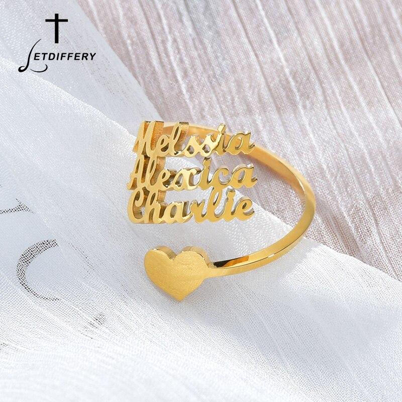 Индивидуальные Кольца с 3 именами, регулируемые женские Семейные кольца из нержавеющей стали, уникальные подарки на день рождения