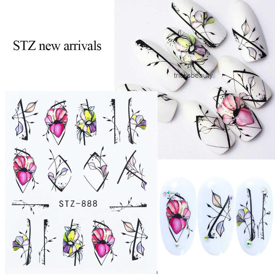 1 個黒花ネイル水転写ステッカー花葉装飾デザインネイルアートスライダーマニキュア TRSTZ880-902