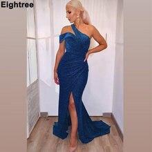 Eightree сексуальное синее платье на одно плечо вечерние платья