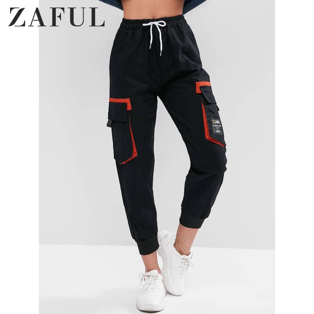 ZAFUL Hot Pockets Cargo Pants Women High Waist Drawstring Loose Streetwear Pants Baggy Hip Hop High Quality Joggers Pants 2019
