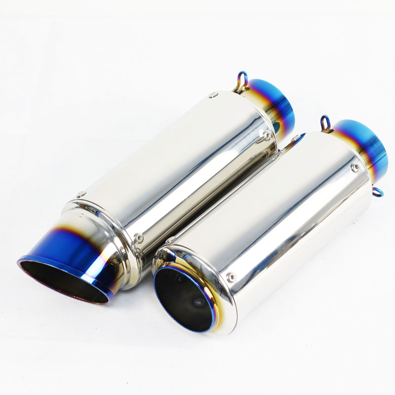 High Quality Universal Stainless Steel Interface 51mm Oval Mufflers Motorcycle Exhaust Systems Muffler Tail Pipe