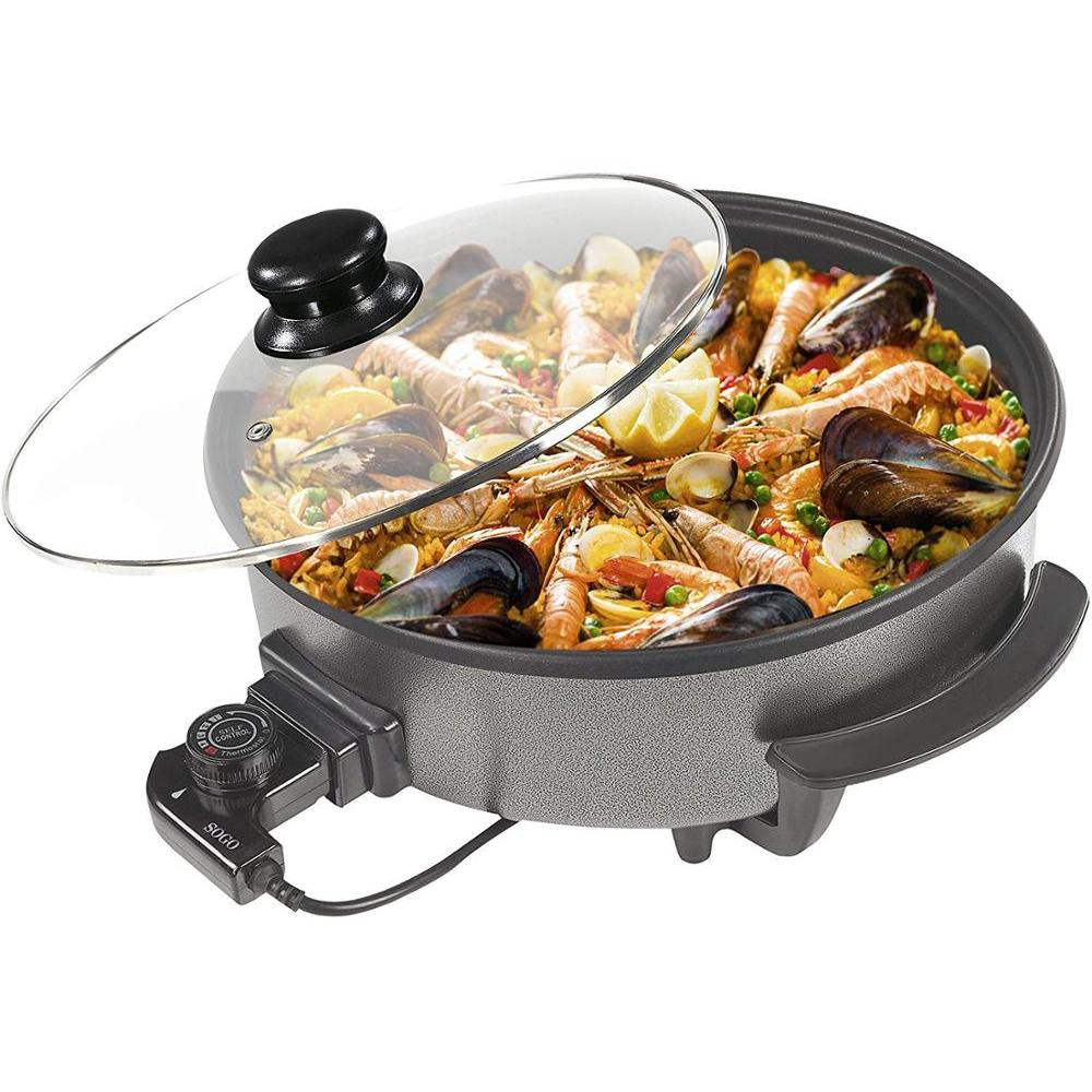 Sogo SS-10095-paellera, Skillet Electric, Pizza Pan, Casserole Multi Purpose With Glass Lid, Diameter 36 Cm, Depth 7 Cm, 1500W