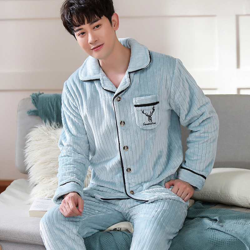 New Autumn/Winter Men Pyjamas Spring And Autumn Style Long-Sleeved Flannel Pyjamas Suit Men Home Service Suit Two-Piece Set