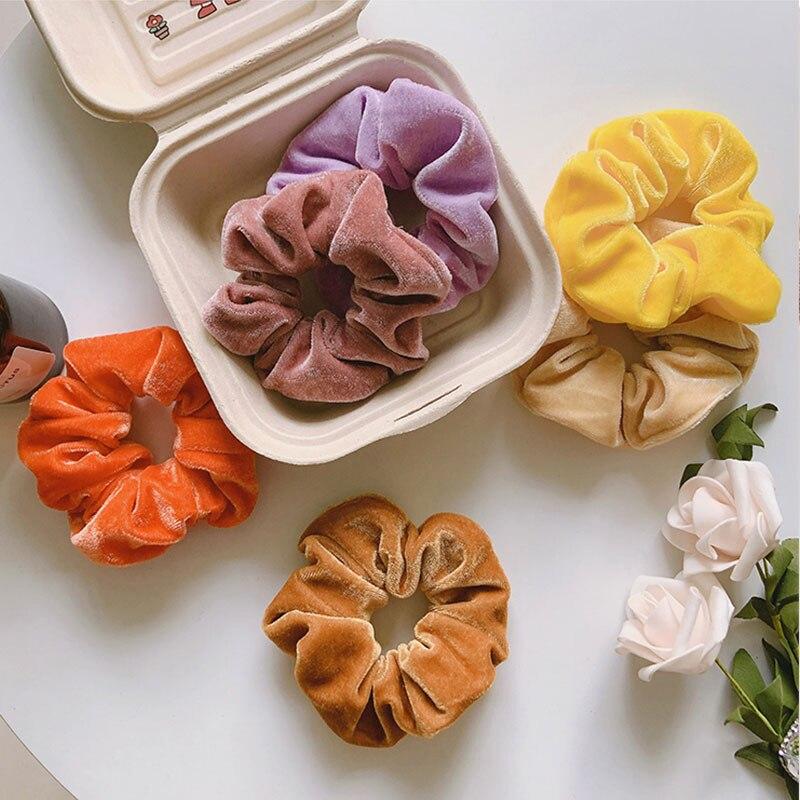 Корейские Бархатные резинки для волос, резинка карамельных цветов, мягкие блестящие резинки для волос, эластичные резинки для волос, зимнее...