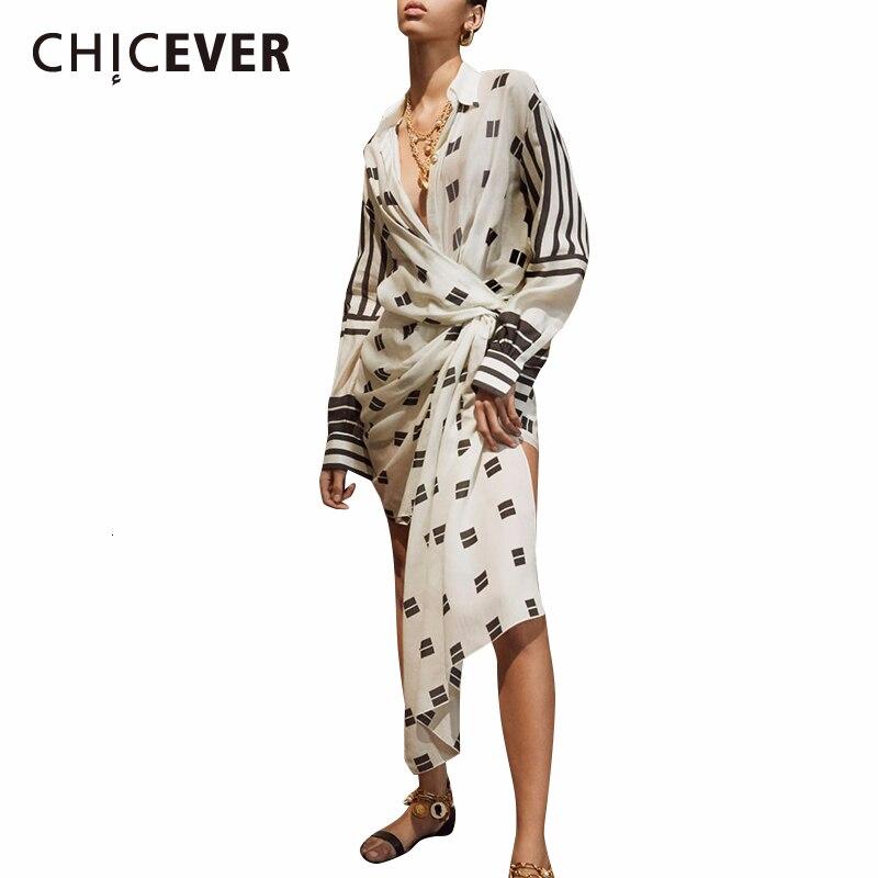CHICEVER Asymmetrical Print Dresses For Female Lapel Collar Long Sleeve High Waist Tunic Irregular Dress Womens Fashion Tide
