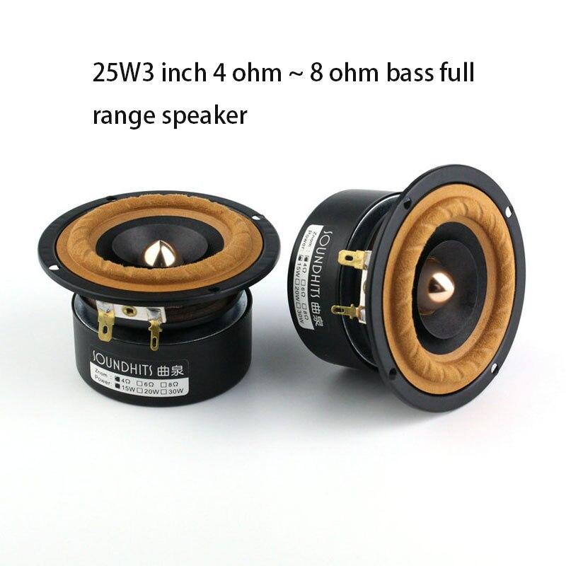 Altavoz de gama completa de 25W y 3 pulgadas, amplificador de audio de rango completo, de 4ohm a 8Ohm, con graves, de 98Hz a 20KHz