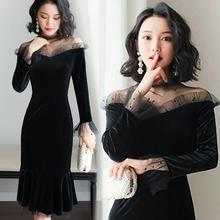 2019 Spring and summer new style One-shoulder gold velvet dress Sexy black fishtail Bottoming New women clothes