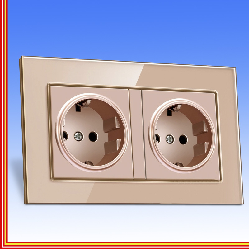 <font><b>Eu</b></font> Two-way <font><b>Socket</b></font> Export Method Standard European Tempered Glass <font><b>Socket</b></font> French Round 2 Hole <font><b>Socket</b></font> With Cylinder 16a image