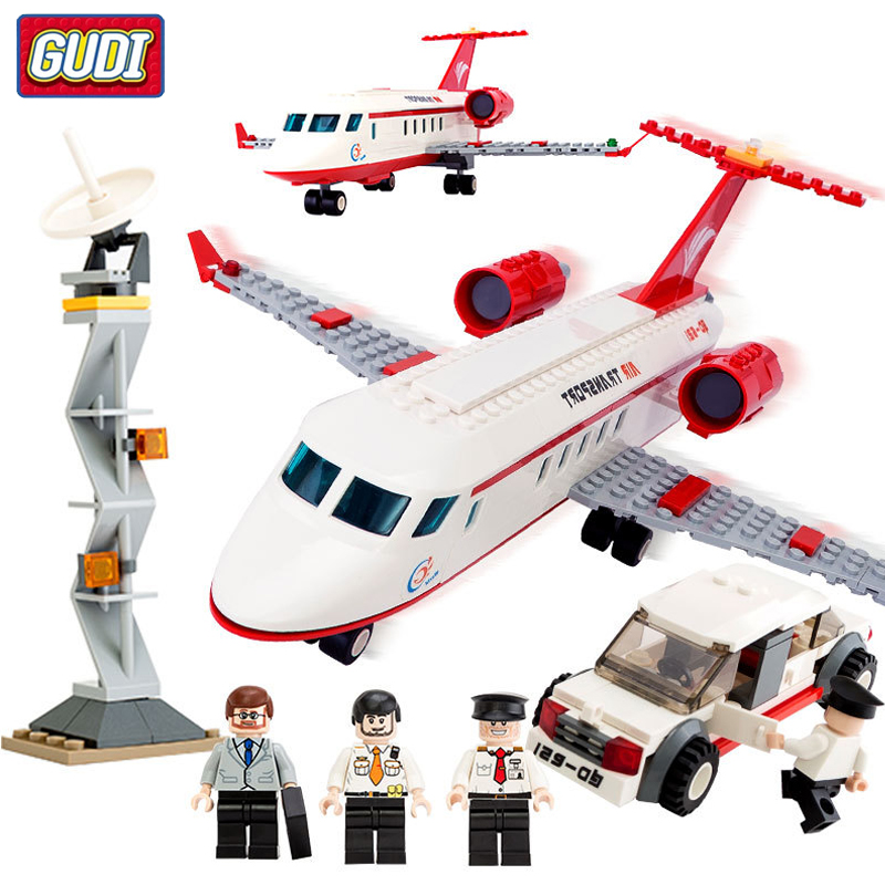 334Pcs City Airplane Air Bus Building Blocks Sets Plane Car Bricks Figures DIY Aviation Technic Toys for Children image